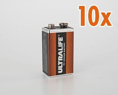 10x Ultralife Lithium Batterie 9 Volt, E-Block, U9VL, U9VL-J 1200mAh (Spar Set) 10er Set - 1