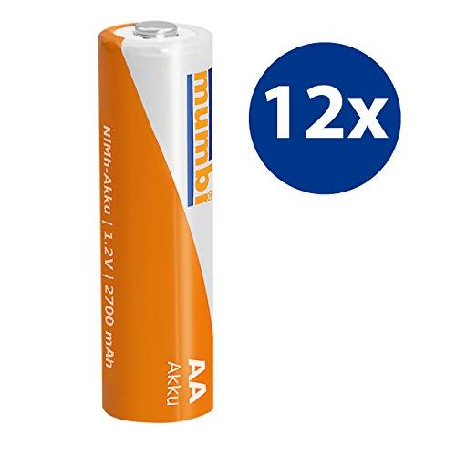 12x mumbi AA Mignon Ni-MH Akku 2700mAh 1.2V Batterie - 2