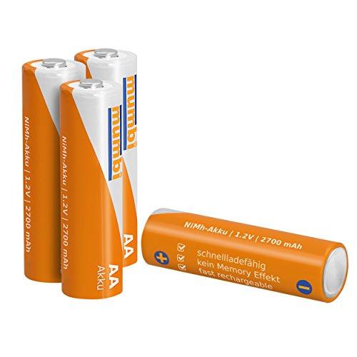 4x mumbi AA Mignon Ni-MH Akku 2700mAh 1.2V Batterie - 2