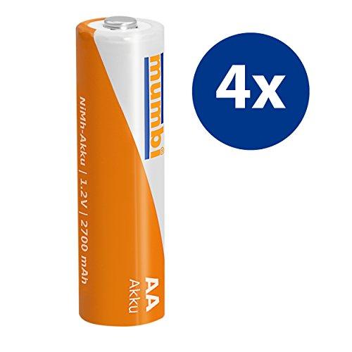 4x mumbi AA Mignon Ni-MH Akku 2700mAh 1.2V Batterie - 3