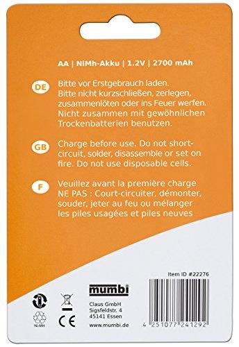 4x mumbi AA Mignon Ni-MH Akku 2700mAh 1.2V Batterie - 5