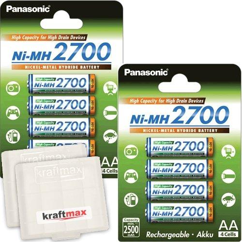 8er Pack Panasonic High Capacity 2700 NI-MH Akku BK-3HGAE - 8 Mignon AA Akkus in Akkubox - 1