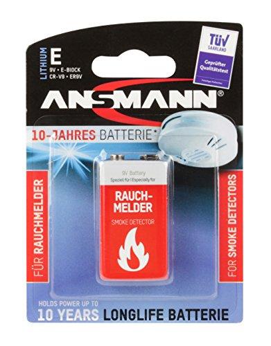 ANSMANN 10-Jahres Longlife Batterie speziell für Rauchmelder Lithium High Energy 9V E-Block ER9V CR-V9 1100mAh 9V (700% mehr Power) - 1