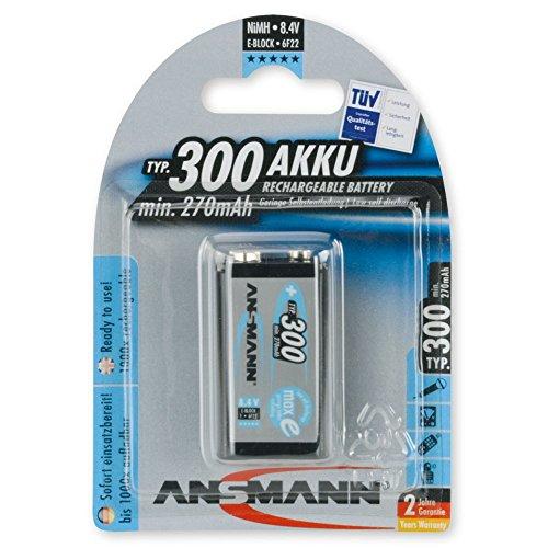 ANSMANN maxE 9V Block Typ 300 (min. 270mAh) vorgeladener 9V Akku geringe Selbstentladung Akkubatterie (1er Pack) - 1