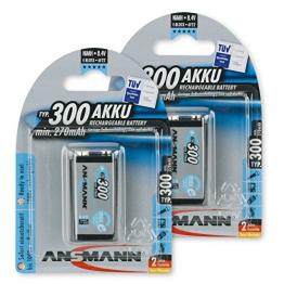 ANSMANN maxE 9V Block Typ 300 (min. 270mAh) vorgeladener 9V Akku geringe Selbstentladung Akkubatterie (2er Pack) - 1