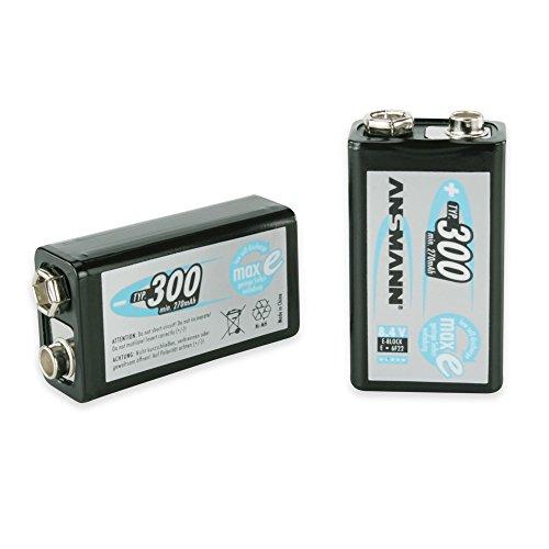 ANSMANN maxE 9V Block Typ 300 (min. 270mAh) vorgeladener 9V Akku geringe Selbstentladung Akkubatterie (2er Pack) - 2