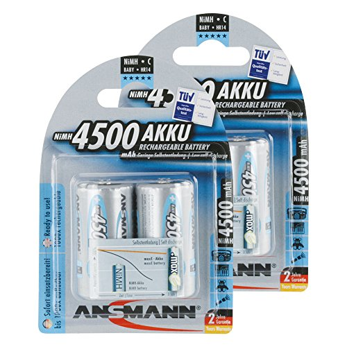 ANSMANN maxE Baby C Akku 4500mAh (4er Pack) vorgeladene ready2use NiMH Power Akkubatterie Babyzelle mit geringer Selbstentladung - 1