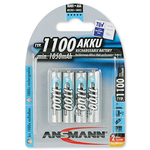 ANSMANN Micro AAA Akku Typ 1100mAh NiMH hochkapazitiv Profi Digital Kamera-Akkubatterie (4er Pack) - 1