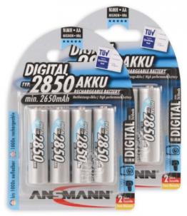 ANSMANN Mignon AA Akku Typ 2850mAh NiMH hochkapazitiv Profi Digital Kamera-Akkubatterie (8er Pack) - 1