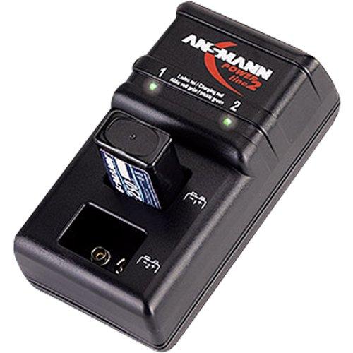ANSMANN Powerline 2 Akku-Ladegerät für zwei 9V E-Block Akkus (jeder Schacht einzeln überwacht, autom. Abschaltung, Erhaltungsladung nach Ladevorgang) - 1