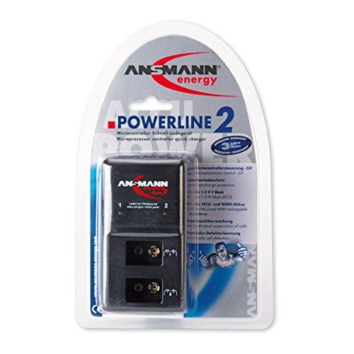 ANSMANN Powerline 2 Akku-Ladegerät für zwei 9V E-Block Akkus (jeder Schacht einzeln überwacht, autom. Abschaltung, Erhaltungsladung nach Ladevorgang) - 2