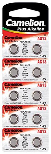 Camelion 12001013 Plus Alkaline Knopfzelle (AG13, LR44, LR1154, 357, 10er Blister) - 2