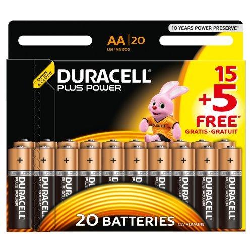 Duracell Plus Power Alkaline Batterien AA (MN1500/LR6) 15+5 Special Offer Pack - 1