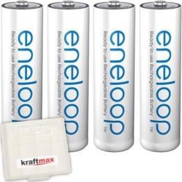Kraftmax 4er Pack Panasonic Eneloop AA / Mignon Akkus - Neueste Generation - Hochleistungs Akku Batterien in Kraftmax Akkubox V5, 4er Pack - 1