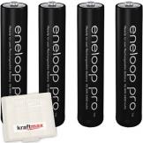 Kraftmax 4er-Pack Panasonic Eneloop PRO XX AAA / Micro Akkus - Neueste Generation - 950 mAh Hochleistungs Akku Batterien in Kraftmax Akkubox V5, 4er Pack - 1