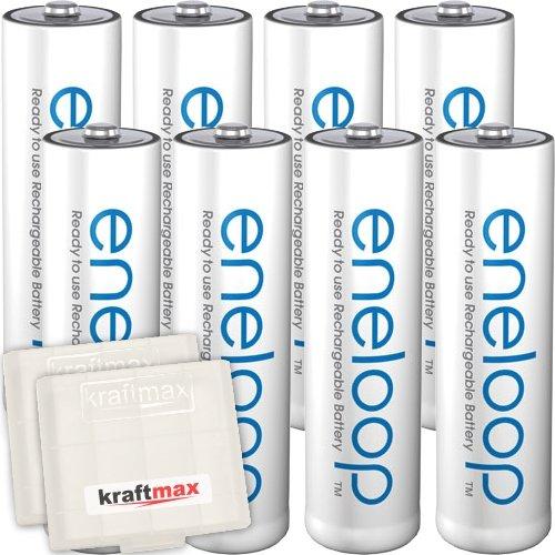 Kraftmax 8er-Pack Panasonic Eneloop AA / Mignon Akkus - Neueste Generation - Hochleistungs Akku Batterien in Kraftmax Akkuboxen V5, 8er Pack - 1