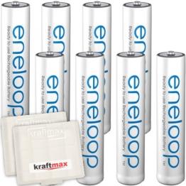 Kraftmax 8er-Pack Panasonic Eneloop AAA / Micro Akkus - Neueste Generation - Hochleistungs Akku Batterien in Kraftmax Akkuboxen V5, 8er Pack - 1