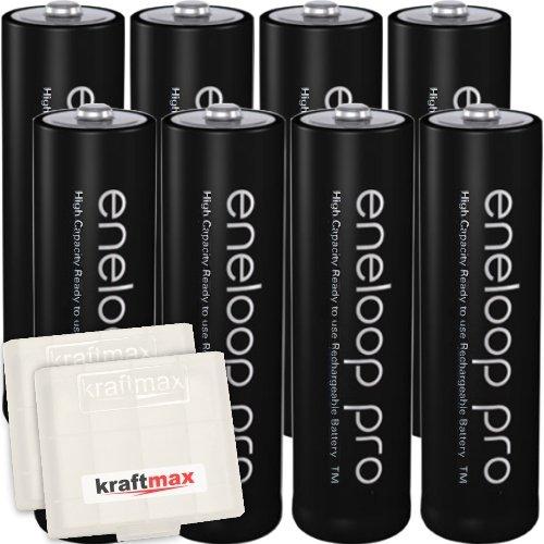 Kraftmax 8er-Pack Panasonic Eneloop PRO XX AA / Mignon Akkus - Neueste Generation - 2550 mAh Hochleistungs Akku Batterien in Kraftmax Akkubox V5, 8er Pack - 1