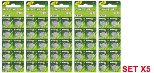 Maxima Trade Set 5 x Alkali Knopfzelle (10 x) Knopfzelle (Mangan L44/AG13/L1154/357/A 76) 5 Stück - 1
