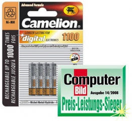 Micro-Akkus CAMELION Ni-MH, 1100mA, Typ AAA, 1,2V, 4er-Pack - 1