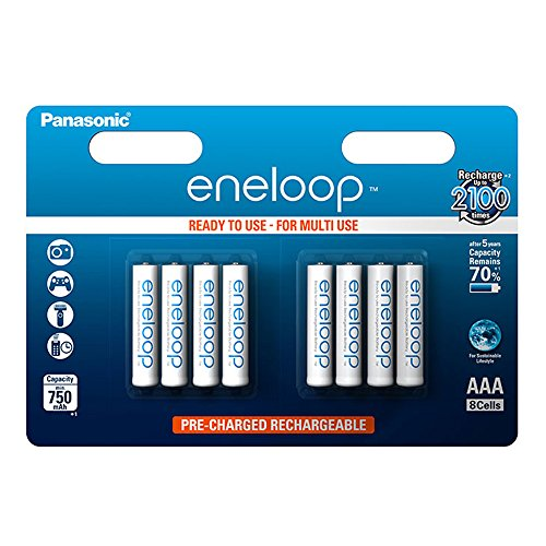 Panasonic eneloop AAA Ready-to-Use Micro NI-MH Akku BK-4MCCE/8BE (750 mAh, 8er Pack) - 1