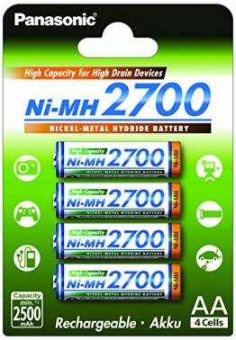 Panasonic High Capacity AA Mignon NI-MH 2700 Akku wiederaufladbar, BK-3HGAE/4BE (2.500 mAh, 4er Pack) - - 1