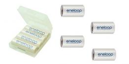 Sanyo Eneloop HR-3UTGB 4er Pack inkl. 4x Baby C Adapter (4x AA, 2000mAH) - 1