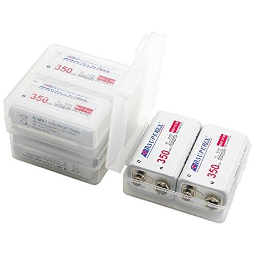 SUPEREX® 9V 350mAh Ni-MH rechargeable battery wiederaufladbare aufladbare 9Volt Block Batterie akku mit PCB geschutzt - 6er Pack in transluzenter Box (Achten Sie bitte auf die Akkusausgangspannung: 8.4V-10.5V) - 3