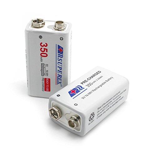 SUPEREX® 9V 350mAh Ni-MH rechargeable battery wiederaufladbare aufladbare 9Volt Block Batterie akku mit PCB geschutzt - 6er Pack in transluzenter Box (Achten Sie bitte auf die Akkusausgangspannung: 8.4V-10.5V) - 5