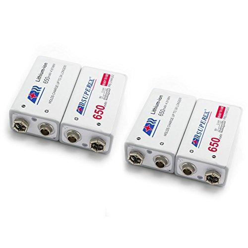SUPEREX® 9V rechargeable battery wiederaufladbare aufladbare ladbare Lithium-ION Batterie Akkus, lebensdauer bis zu 500 Zyklen (typisch 650 mAh, minimal 630 mAh), 4er pack (Achten Sie bitte auf die Akkusausgangspannung: 7.4V-8.4V) - 2