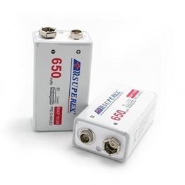 SUPEREX® 9V rechargeable battery wiederaufladbare aufladbare ladbare Lithium-ION Batterie Akkus, lebensdauer bis zu 500 Zyklen (typisch 650 mAh, minimal 630 mAh), 4er pack (Achten Sie bitte auf die Akkusausgangspannung: 7.4V-8.4V) - 1