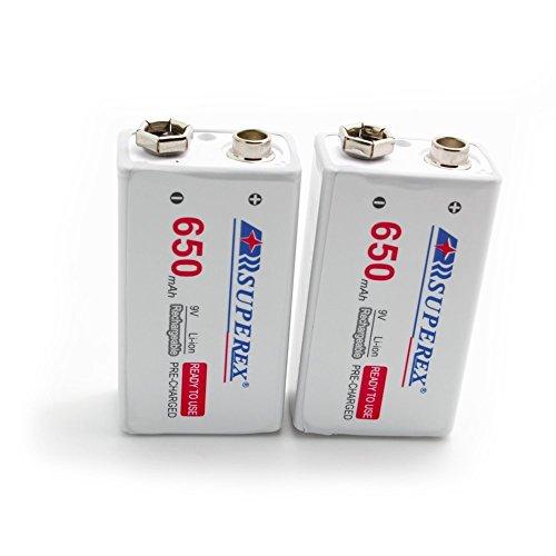 SUPEREX® 9V rechargeable battery wiederaufladbare aufladbare ladbare Lithium-ION Batterie Akkus, lebensdauer bis zu 500 Zyklen (typisch 650 mAh, minimal 630 mAh), 4er pack (Achten Sie bitte auf die Akkusausgangspannung: 7.4V-8.4V) - 5
