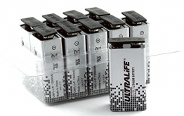 Ultralife Lithium Batterie (9 Volt, E-Block, U9VL, U9VL-J-P, 1200mAh) in 10er Box - 1