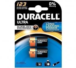 V8A Doppelpack Duracell Ultra DL123A/CR123A/EL123A 3V Lithium Batterie Langanhaltende Leistung - 1