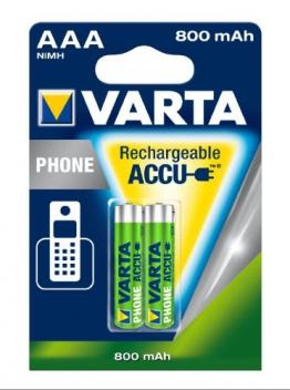 Varta Phone Accu AAA Micro Ni-Mh Akku  (2-er Pack, 800 mAh, geeignet für schnurlose Telefone) - 1