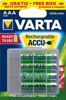 Varta Ready2Use wiederaufladbarer Micro Ni-Mh Akku (AAA, 1000mAh, 4-er Pack) inklusive Aufbewahrungsbox - 1