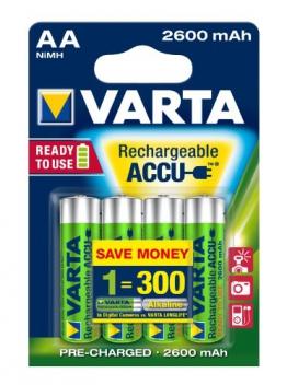 Varta Rechargeable Accu Ready2Use AA Mignon Ni-Mh Akku (4-er Pack, 2600 mAh) - 1