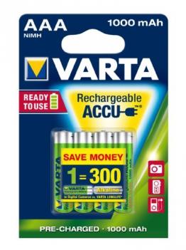 Varta Rechargeable Accu Ready2Use AAA Micro Ni-Mh Akku (4-er Pack, 1000 mAh) - 1