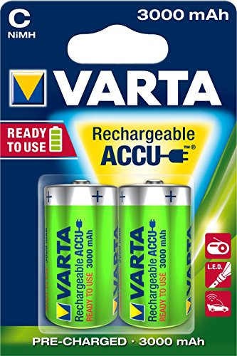 Varta Rechargeable Accu Ready2Use C Baby Ni-Mh Akku (2-er Pack, 3000 mAh) - 1